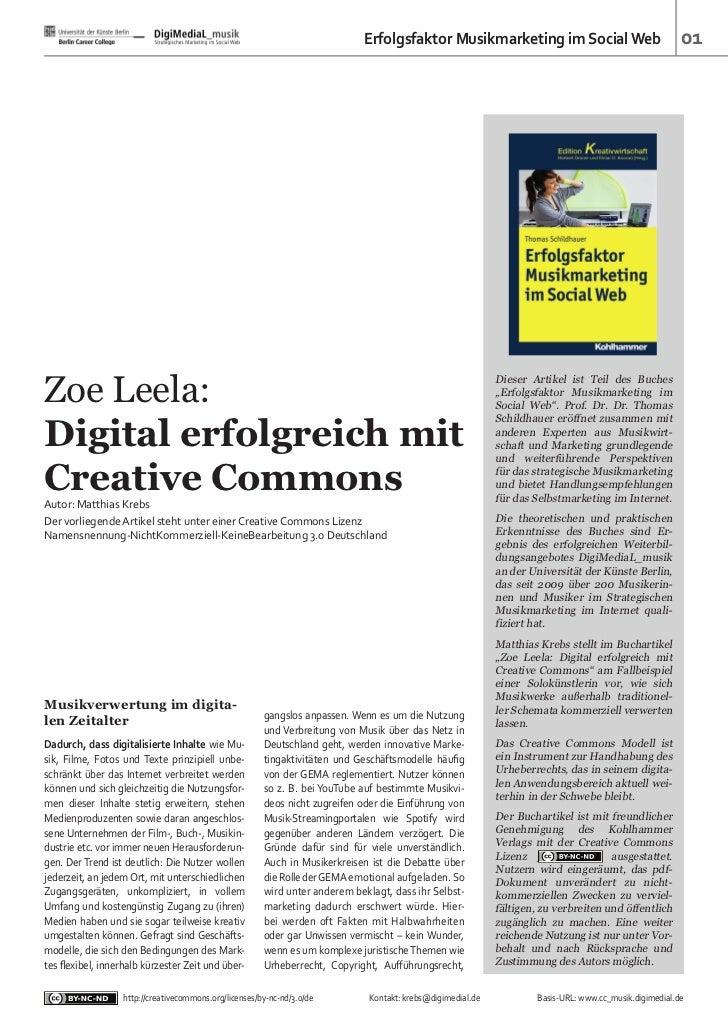Erfolgsfaktor Musikmarketing im Social Web                                    01Zoe Leela:                                ...