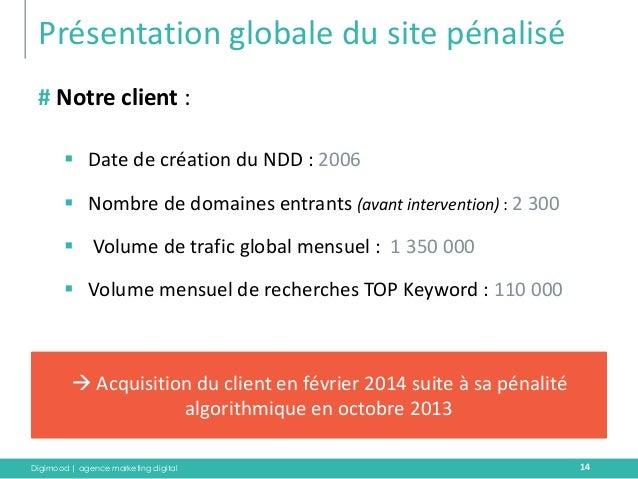 Digimood | agence marketing digital  Présentation globale du site pénalisé  14  # Notre client :  Date de création du NDD...