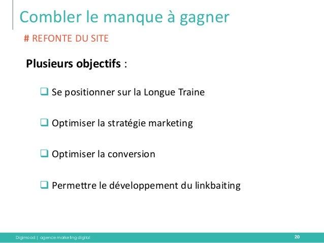 Digimood | agence marketing digital  Combler le manque à gagner  20  Plusieurs objectifs :  Se positionner sur la Longue ...