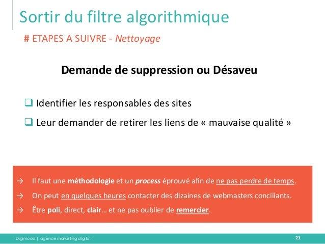 Digimood | agence marketing digital  Sortir du filtre algorithmique  21  Demande de suppression ou Désaveu  # ETAPES A SUI...
