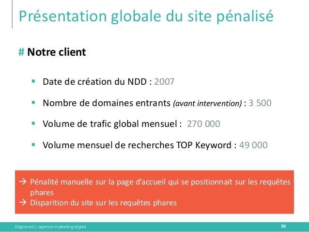 Digimood | agence marketing digital  Présentation globale du site pénalisé  30  # Notre client  Date de création du NDD :...