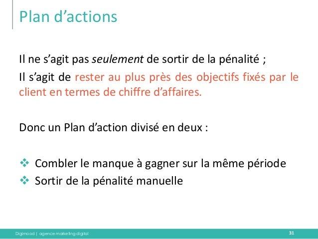 Digimood | agence marketing digital  Plan d'actions  31  Il ne s'agit pas seulement de sortir de la pénalité ;  Il s'agit ...