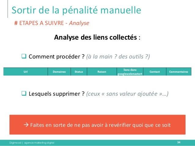 Digimood | agence marketing digital  Sortir de la pénalité manuelle  34  Analyse des liens collectés :  Comment procéder ...