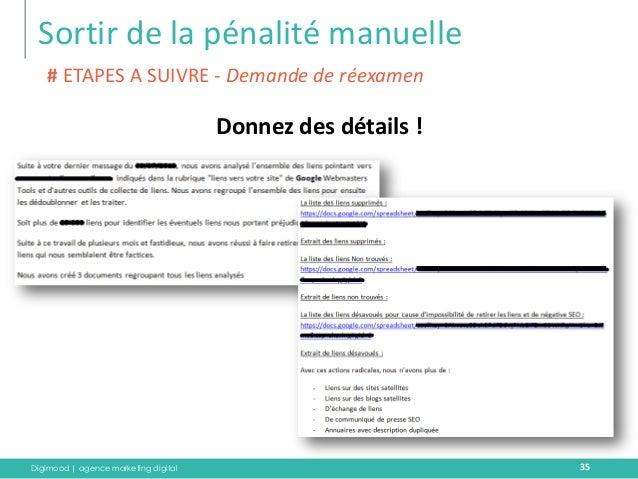 Digimood | agence marketing digital  Sortir de la pénalité manuelle  35  Donnez des détails !  # ETAPES A SUIVRE - Demande...