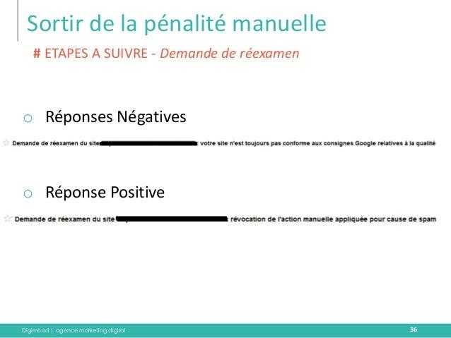 Digimood | agence marketing digital  Sortir de la pénalité manuelle  36  oRéponses Négatives  oRéponse Positive  # ETAPES ...