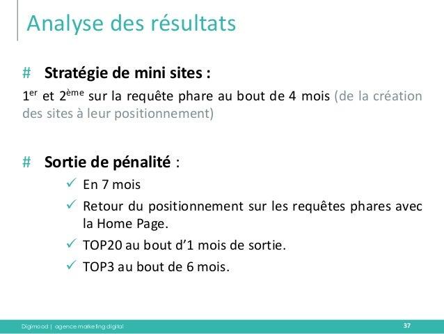 Digimood | agence marketing digital  Analyse des résultats  37  #Stratégie de mini sites :  1er et 2ème sur la requête pha...