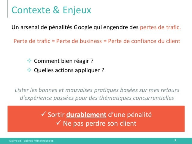 Digimood | agence marketing digital  Contexte & Enjeux  Un arsenal de pénalités Google qui engendre des pertes de trafic. ...