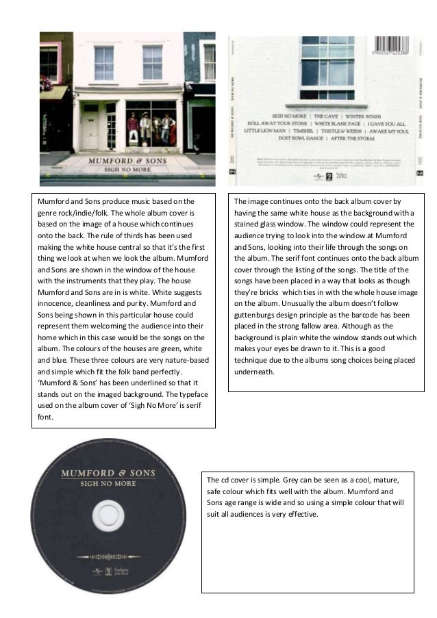 Mumford and Sons produce music based on thegenre rock/indie/folk. The whole album cover isbased on the image of a house wh...