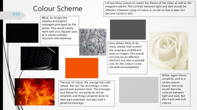 Colour Scheme I chose these colours to match the theme of the video as well as the magazine advert. The contrast between l...