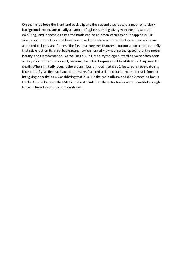 Digipak Analysis 1 Metric Fantasies