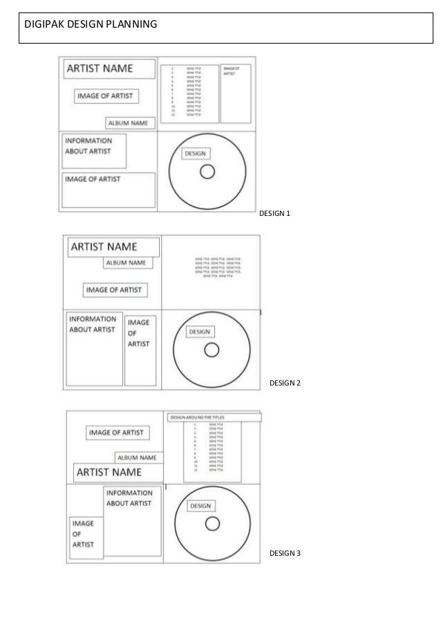 DIGIPAK DESIGN PLANNING                          DESIGN 1                            DESIGN 2                            D...