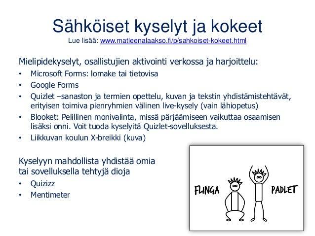 Sähköiset kyselyt ja kokeet Lue lisää: www.matleenalaakso.fi/p/sahkoiset-kokeet.html Mielipidekyselyt, osallistujien aktiv...