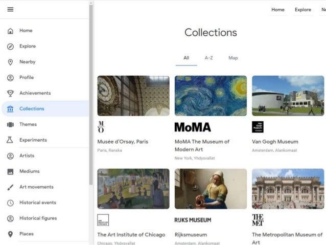 Google Arts & Culture -mobiilisovellus • Experiments • Kumpi oli ensin –kisa • Taidefiltterireitä, sinun näköisiä taidekuv...