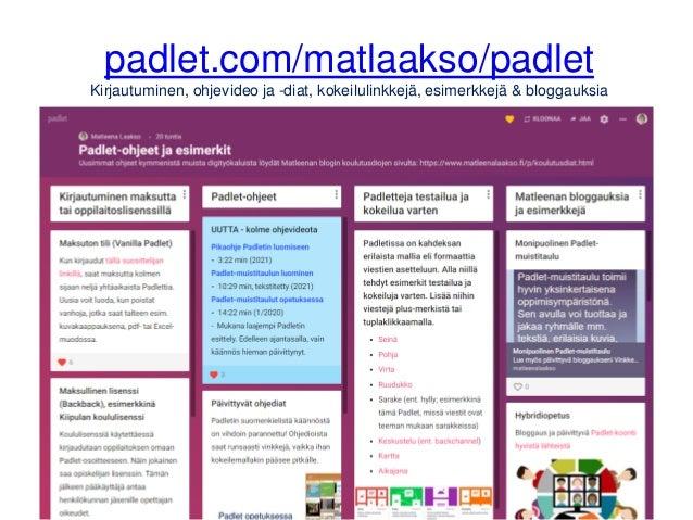 padlet.com/matlaakso/padlet Kirjautuminen, ohjevideo ja -diat, kokeilulinkkejä, esimerkkejä & bloggauksia