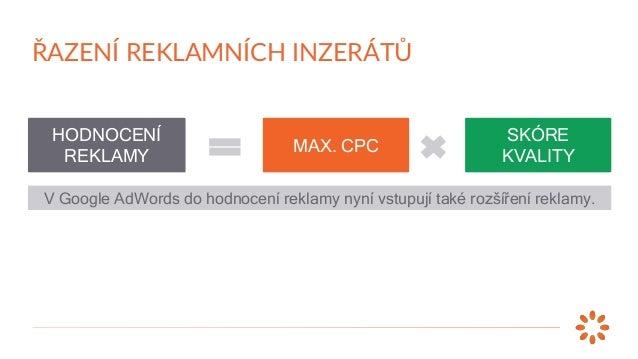 Inzerent Max. CPC x Skóre kvality = Ad Rank → Pozice A B C D 3 Kč 2 Kč 2 Kč 4 Kč ŘAZENÍ REKLAMNÍCH INZERÁTŮ