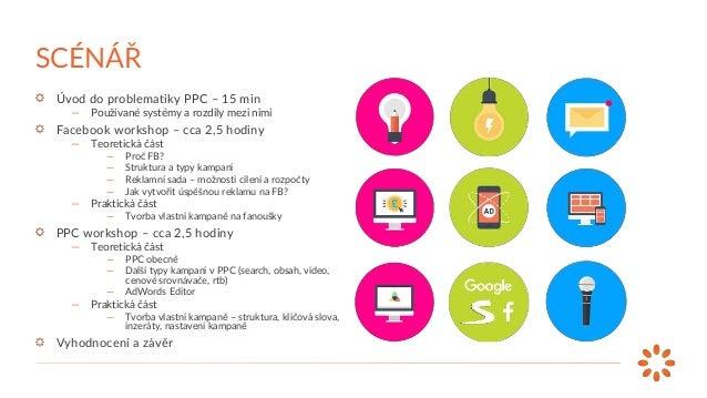 Úvod do problematiky PPC – 15 min — Používané systémy a rozdíly mezi nimi Facebook workshop – cca 2,5 hodiny — Teoretická ...