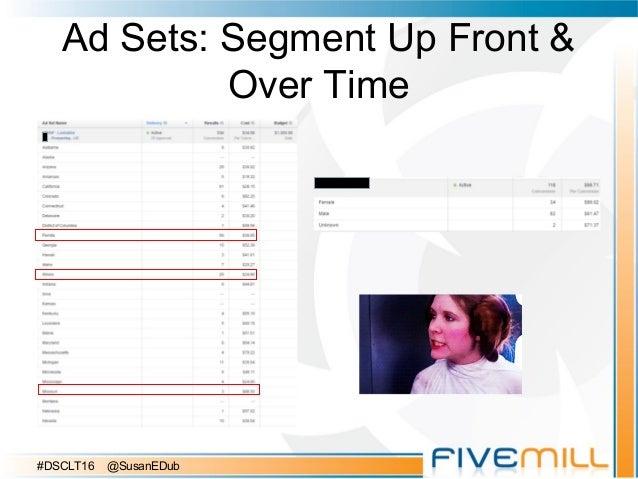 Ad Sets: Segment Up Front & Over Time #DSCLT16 @SusanEDub