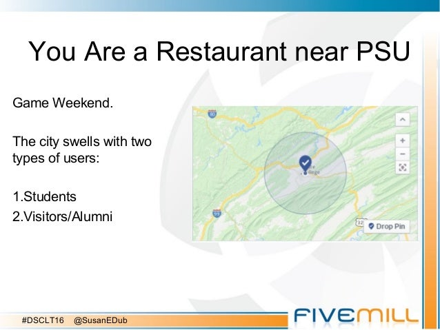 You Are a Restaurant near PSU Game Weekend. The city swells with two types of users: 1.Students 2.Visitors/Alumni #DSCLT16...