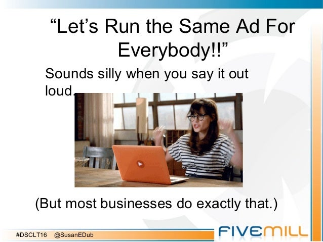 """""""Let's Run the Same Ad For Everybody!!"""" Sounds silly when you say it out loud. (But most businesses do exactly that.) #DSC..."""