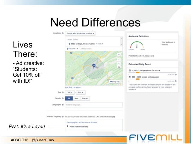 """Need Differences Lives There: - Ad creative: """"Students: Get 10% off with ID!"""" Psst: It's a Layer! #DSCLT16 @SusanEDub"""