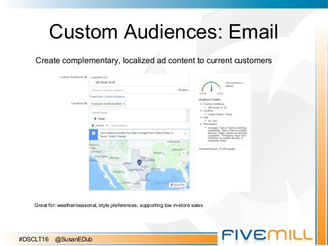 Custom Audiences: Email Create complementary, localized ad content to current customers Great for: weather/seasonal, style...