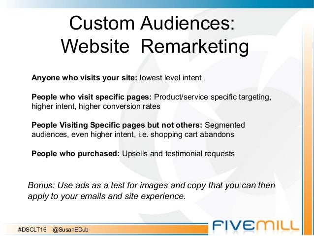 Custom Audiences: Website Remarketing Bonus: Use ads as a test for images and copy that you can then apply to your emails ...