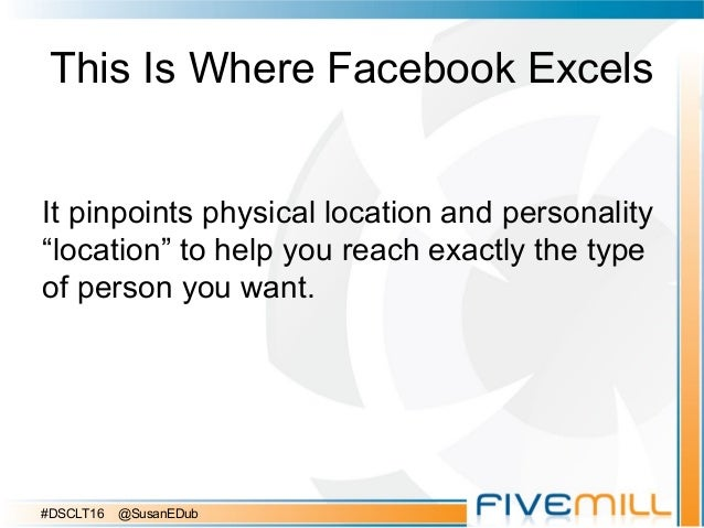 """This Is Where Facebook Excels It pinpoints physical location and personality """"location"""" to help you reach exactly the type..."""