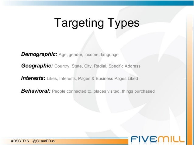 Targeting Types Demographic: Age, gender, income, language Geographic: Country, State, City, Radial, Specific Address Inte...