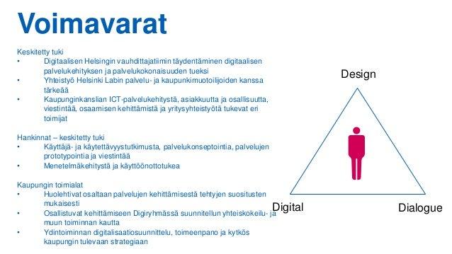 Voimavarat Keskitetty tuki • Digitaalisen Helsingin vauhdittajatiimin täydentäminen digitaalisen palvelukehityksen ja palv...