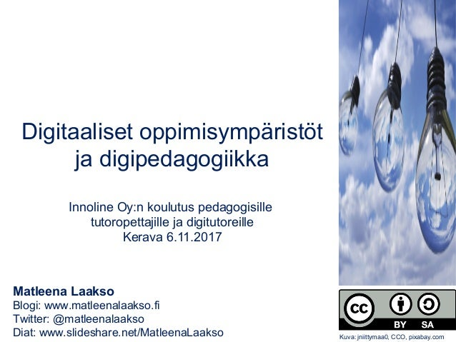 Matleena Laakso Blogi: www.matleenalaakso.fi Twitter: @matleenalaakso Diat: www.slideshare.net/MatleenaLaakso Digitaaliset...