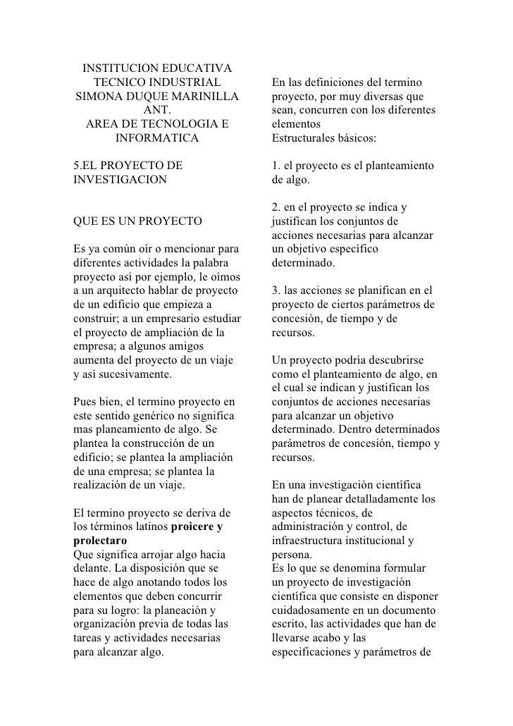 INSTITUCION EDUCATIVA    TECNICO INDUSTRIAL                 En las definiciones del termino SIMONA DUQUE MARINILLA        ...