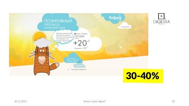 20.11.2015 Зачем нужен digital? 18 30-40%