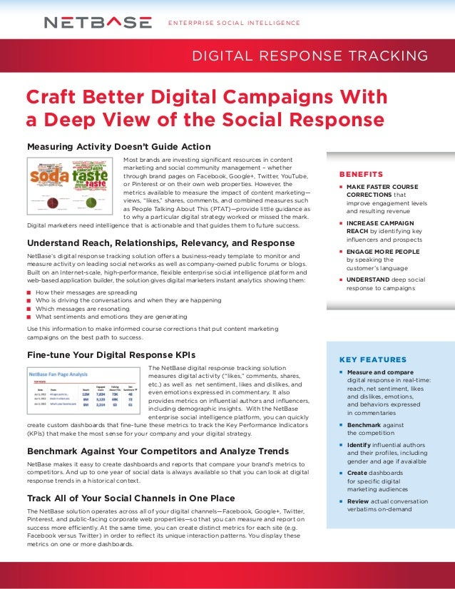 ENTERPRISE SOCIAL INTELLIGENCE  DIGITAL RESPONSE TRACKING  Craft Better Digital Campaigns With a Deep View of the Social R...
