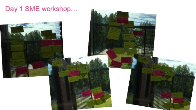 Day 1 SME workshop…