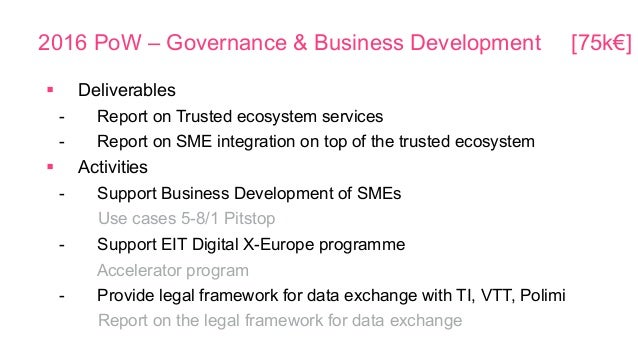 2016 PoW – Governance & Business Development [75k€] § Deliverables - Report on Trusted ecosystem services - Report on SM...
