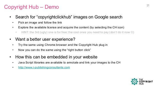 """Copyright Hub – Demo • Search for """"copyrightclickhub"""" images on Google search • Pick an image and follow the link • Exp..."""
