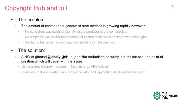 Copyright Hub and IoT • The problem • The amount of content/data generated from devices is growing rapidly however: • N...