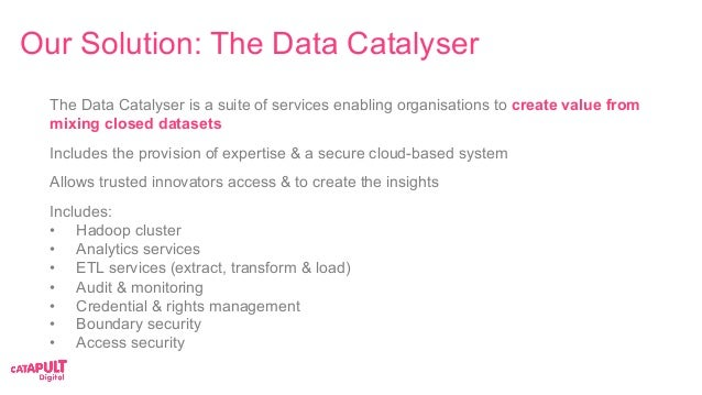 The Data Catalyser is a suite of services enabling organisations to create value from mixing closed datasets Includes the ...