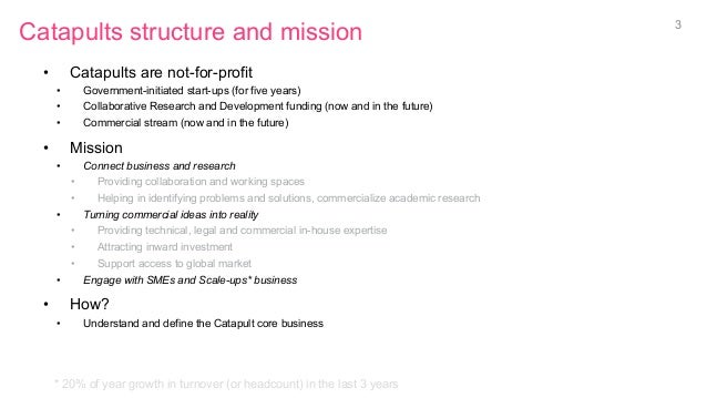 Catapults structure and mission • Catapults are not-for-profit • Government-initiated start-ups (for five years) • Coll...