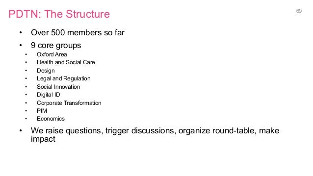 PDTN: The Structure • Over 500 members so far • 9 core groups • Oxford Area • Health and Social Care • Design • Lega...