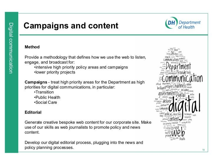 Campaigns and contentMethodProvide a methodology that defines how we use the web to listen,engage, and broadcast for:     ...