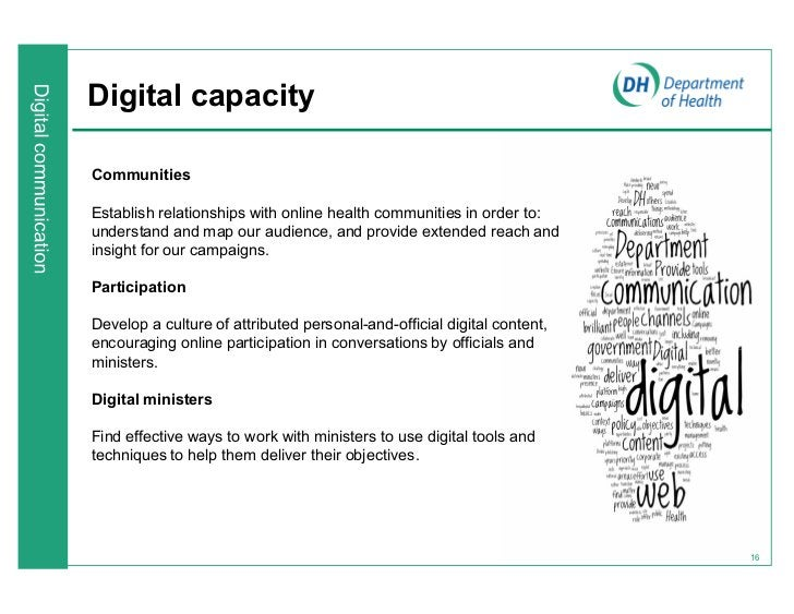 Digital capacityCommunitiesEstablish relationships with online health communities in order to:understand and map our audie...