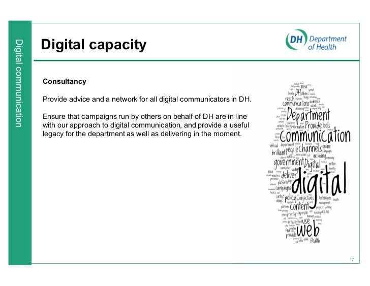 Digital capacityConsultancyProvide advice and a network for all digital communicators in DH.Ensure that campaigns run by o...