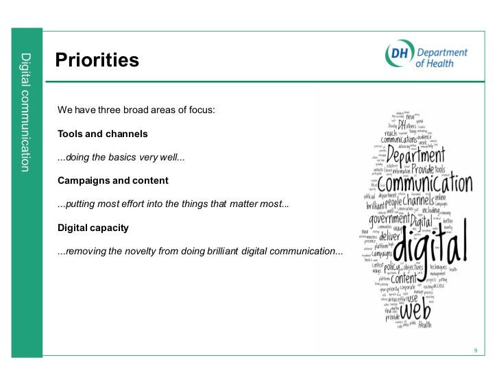 PrioritiesWe have three broad areas of focus:Tools and channels...doing the basics very well...Campaigns and content...put...