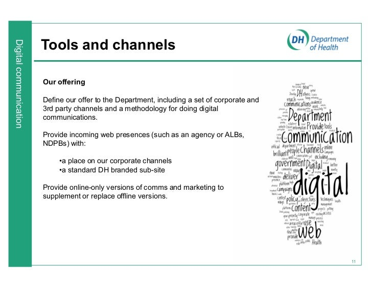 Tools and channelsOur offeringDefine our offer to the Department, including a set of corporate and3rd party channels and a...