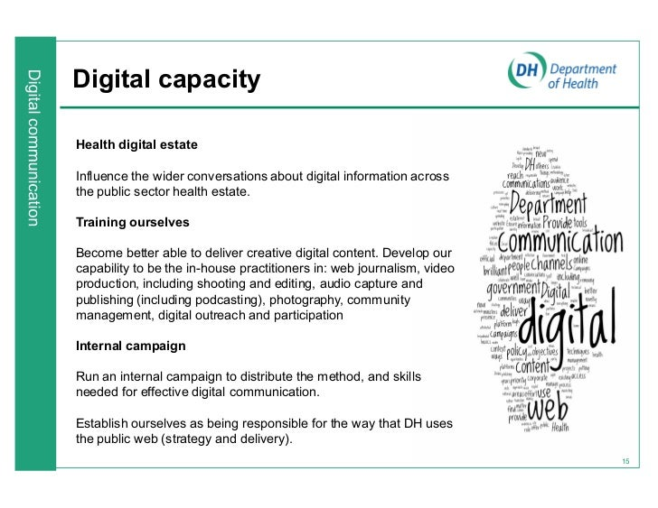Digital capacityHealth digital estateInfluence the wider conversations about digital information acrossthe public sector h...