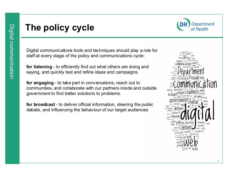 The policy cycleDigital communications tools and techniques should play a role forstaff at every stage of the policy and c...