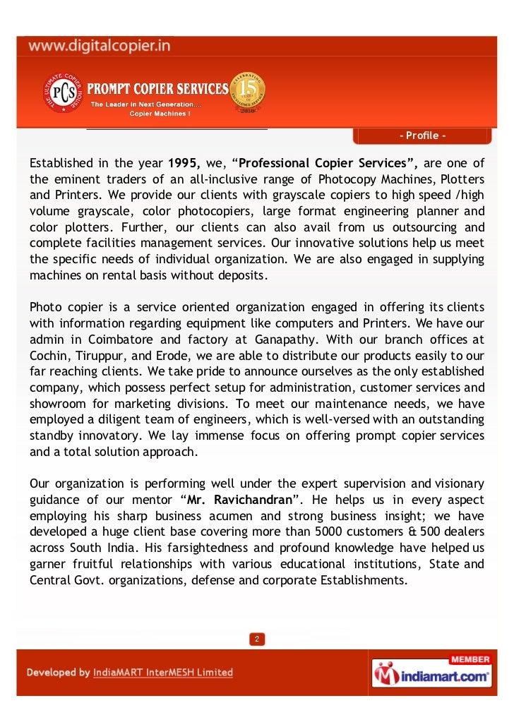 Professional Copier Services India Private Limited, Coimbatore, Ricoh…