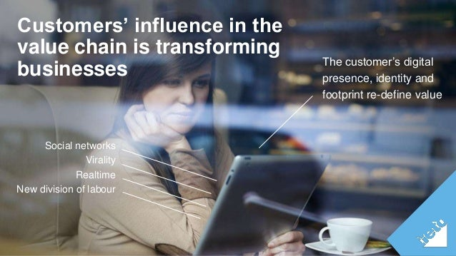 Customers' influence in the  value chain is transforming  businesses The customer's digital  Social networks  Virality  Re...