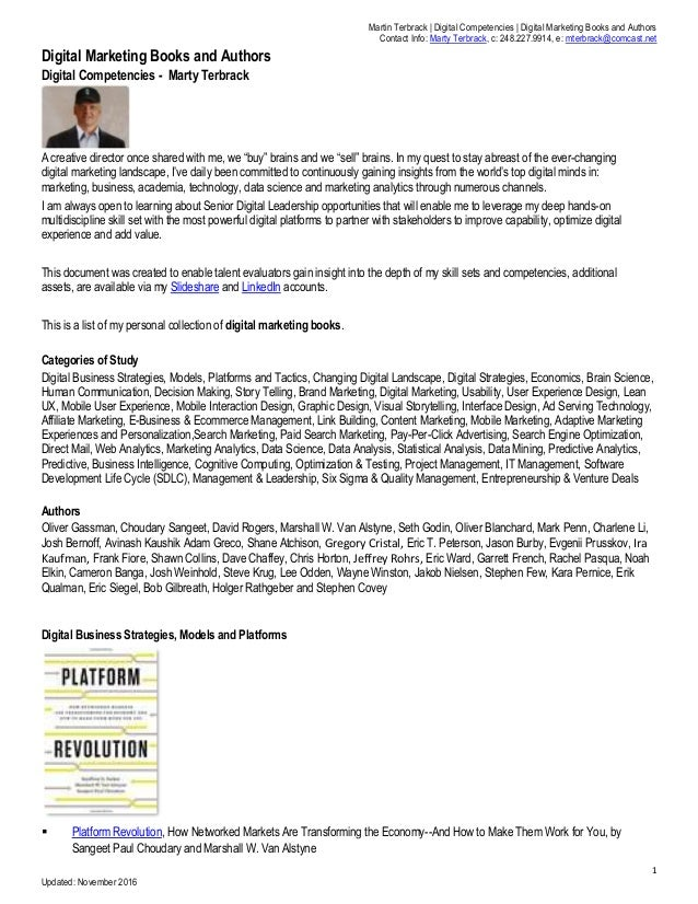 Martin Terbrack | Digital Competencies | Digital Marketing Books and Authors Contact Info: Marty Terbrack, c: 248.227.9914...